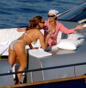 Mariah Carey on a luxury boat