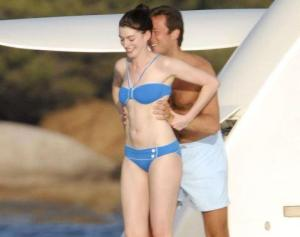 Actress Anne Hathaway seen here having fun on her luxury yacht