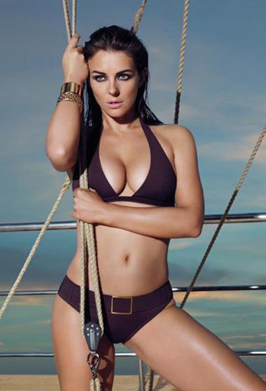 Liz Hurley in a black bikini