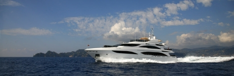 A new private motor yacht cruising.