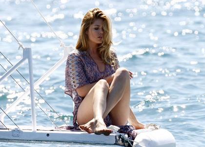 Doutzen Kroes the Victoria's Secret Model on a yacht at the Cannes Film Festival.