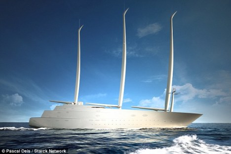 Rendering of the 143m SAILING YACHT A - Credit to Pascal Deis and Starck Network