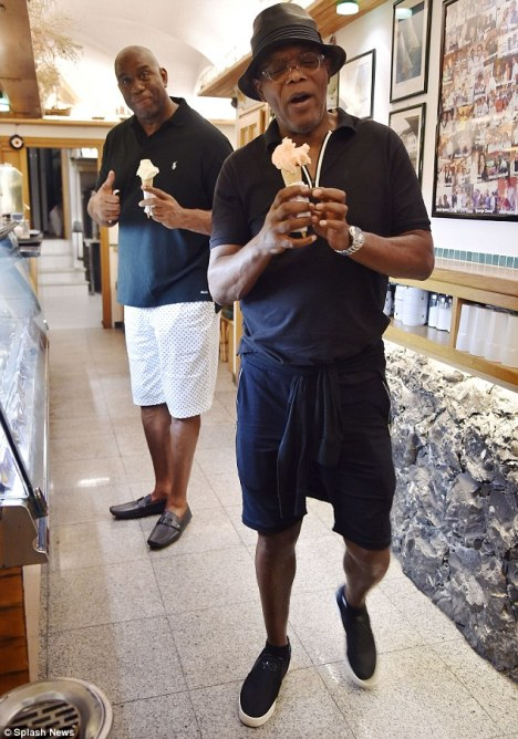Magic Johnson and Samuel L. Jackson enjoying gelato in Portofino - Image credit to Splash News